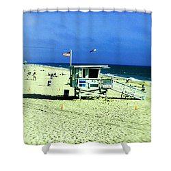 Lifeguard Shack Shower Curtain by Scott Pellegrin