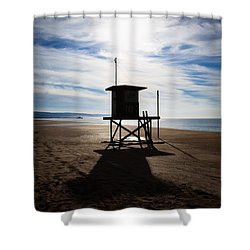 Lifeguard Tower Newport Beach California Shower Curtain by Paul Velgos