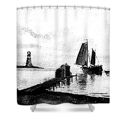 Lighthouse Point Shower Curtain by George Pedro