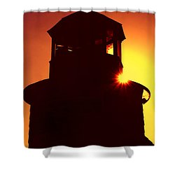Lighthouse Sunset Shower Curtain by Joann Vitali