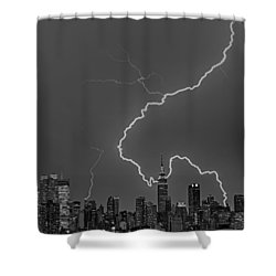Lightning Bolts Over New York City Bw Shower Curtain by Susan Candelario