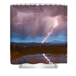 Lightning Striking Longs Peak Foothills 2 Shower Curtain by James BO  Insogna