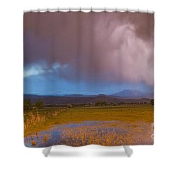 Lightning Striking Longs Peak Foothills 7 Shower Curtain by James BO  Insogna