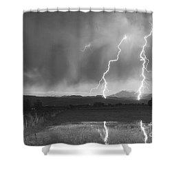 Lightning Striking Longs Peak Foothills Bw Shower Curtain by James BO  Insogna