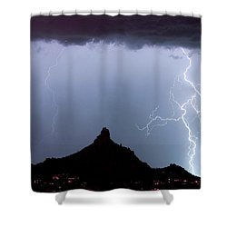 Lightning Thunderstorm At Pinnacle Peak Shower Curtain by James BO  Insogna