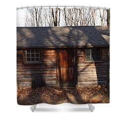 Little Cabin In The Woods Shower Curtain by Robert Margetts