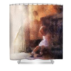 Little Girl Thinking Shower Curtain by Nora Martinez