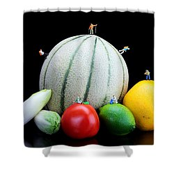 Little People Hiking On Fruits Shower Curtain by Paul Ge