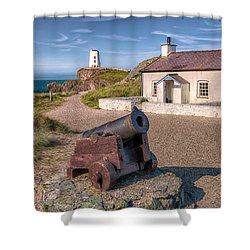 Llanddwyn Cannon Shower Curtain by Adrian Evans