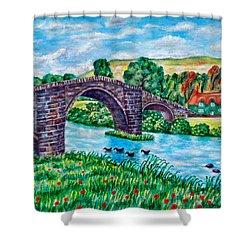 Llanrwst Bridge - Wales Shower Curtain by Ronald Haber