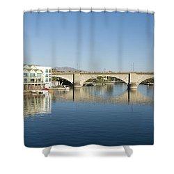 London Bridge And Reflection II Shower Curtain by Gloria & Richard Maschmeyer