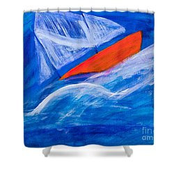 Lone Sailing Boat At Sea Shower Curtain by Simon Bratt Photography LRPS