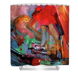 Lonely In The Big City Shower Curtain by Miki De Goodaboom
