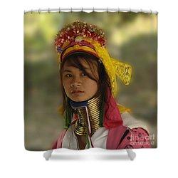 Long Neck Beauty Karen Tribe Shower Curtain by Bob Christopher