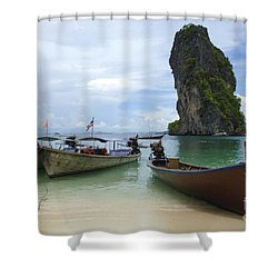 Long Tail Boats Thailand Shower Curtain by Bob Christopher