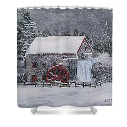 Longfellow's Grist Mill In Winter Shower Curtain by Jack Skinner