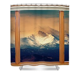 Longs Peak And Mount Meeker Wood Window View Shower Curtain by James BO  Insogna