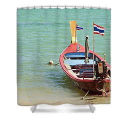 Longtail Boat At Sea Shower Curtain by Bill Brennan