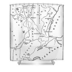 Lorraine And Alsace: Map Shower Curtain by Granger