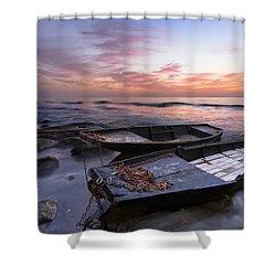 Lost Sailors Shower Curtain by Debra and Dave Vanderlaan