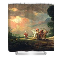 Lot Fleeing From Sodom Shower Curtain by Benjamin West