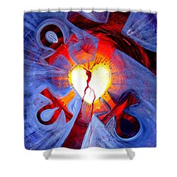 Love - In Three ... For All Shower Curtain by J Vincent Scarpace