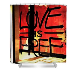 Love Is Free Shower Curtain by Cheryl Young
