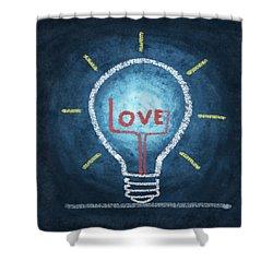 Love Word In Light Bulb Shower Curtain by Setsiri Silapasuwanchai