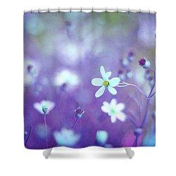 Lovestruck In Purple Shower Curtain by Amy Tyler