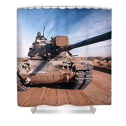 M-60 Battle Tank In Motion Shower Curtain by Stocktrek Images