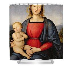 Madonna And Child Shower Curtain by Pietro Perugino