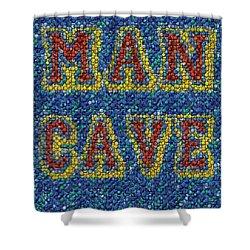 Man Cave Bottle Cap Mosaic Shower Curtain by Paul Van Scott
