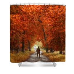 Man In Suit On Rural Road In Autumn Shower Curtain by Jill Battaglia