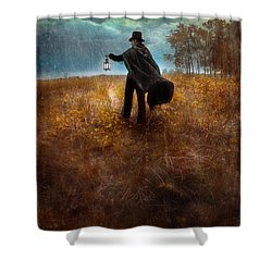 Man In Top Hat And Cape Walking In Rain Shower Curtain by Jill Battaglia