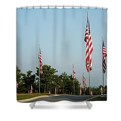 Many American Flags Shower Curtain by Renee Trenholm
