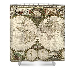 Map Of The World, 1660 Shower Curtain by Photo Researchers
