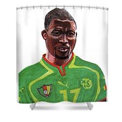 Marc Vivien Foe Shower Curtain by Emmanuel Baliyanga