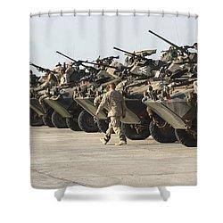 Marines Perform Maintenance On Light Shower Curtain by Stocktrek Images