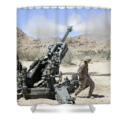 Marines Shoot 100-pound Rounds Shower Curtain by Stocktrek Images