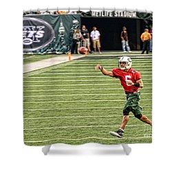 Mark Sanchez Ny Jets Quarterback Shower Curtain by Paul Ward