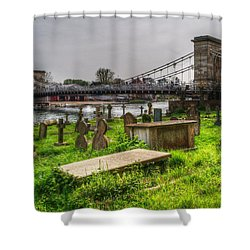 Marlow Bridge From All Saints Graveyard Shower Curtain by Chris Day