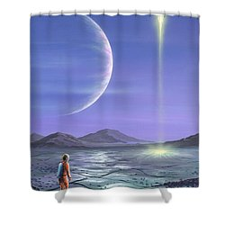 Marooned Astronaut Shower Curtain by Richard Bizley and Photo Researchers