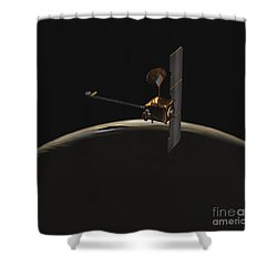 Mars Odyssey Spacecraft Over Martian Shower Curtain by Stocktrek Images