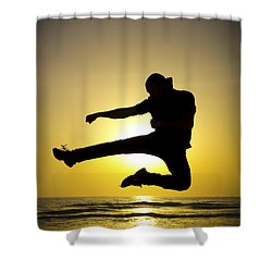 Martial Arts Silhouette Shower Curtain by Guy Viner