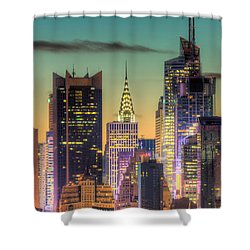 Midtown Buildings Morning Twilight Shower Curtain by Clarence Holmes