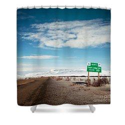 Milepost At The Dempster Highway Shower Curtain by Priska Wettstein