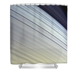 Mimas Drifts Along In Its Orbit Shower Curtain by Stocktrek Images