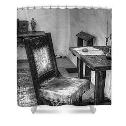 Mission San Diego De Alcala Writing Table Shower Curtain by Bob Christopher