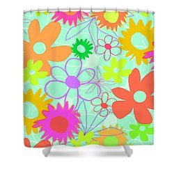 Mixed Flowers Shower Curtain by Louisa Knight