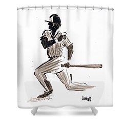 Mlb Base Hit Shower Curtain by Seth Weaver